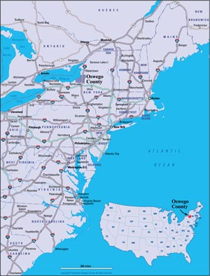Map of Oswego County, NY and surrounding area